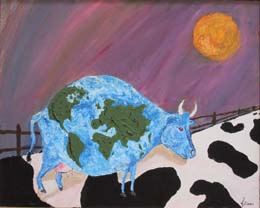 Cow painting by local artist Jochen Ziems